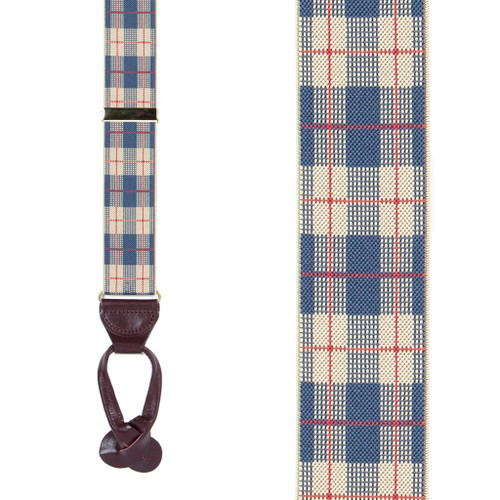 Beige Plaid Suspenders - 1.5 Inch Wide Button - Front View