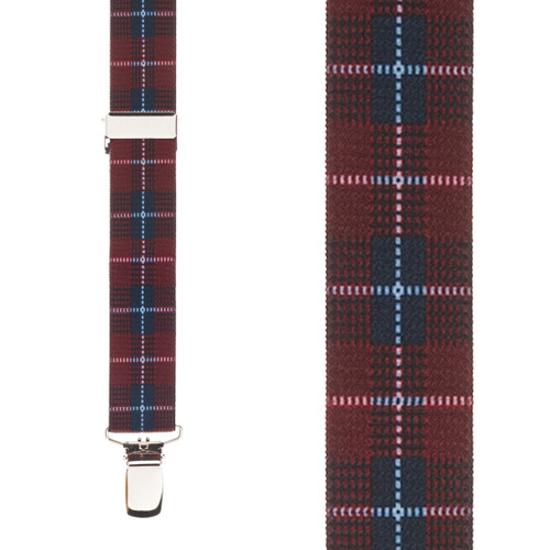 Plaid Suspenders in Burgundy - Front View