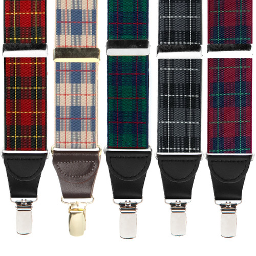 1.5-Inch Wide Plaid Drop Clip Suspenders - All Colors