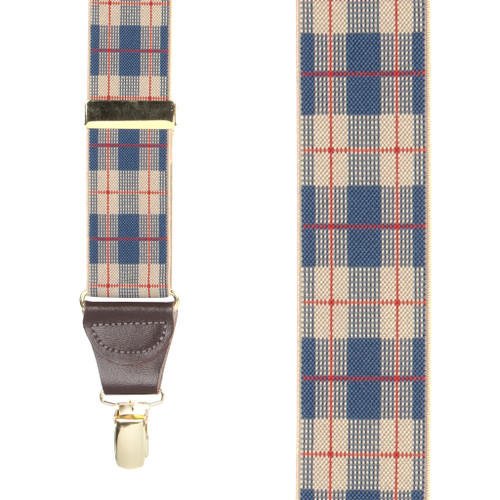 Beige Plaid Suspenders - 1.5 Inch Wide Clip - Front View
