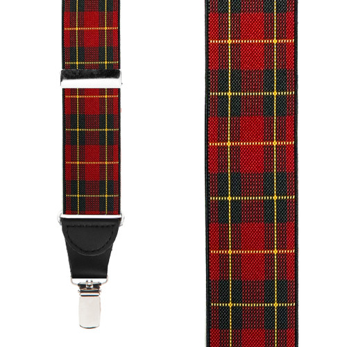 1.5 Inch Wide Red Plaid Suspenders - Front View