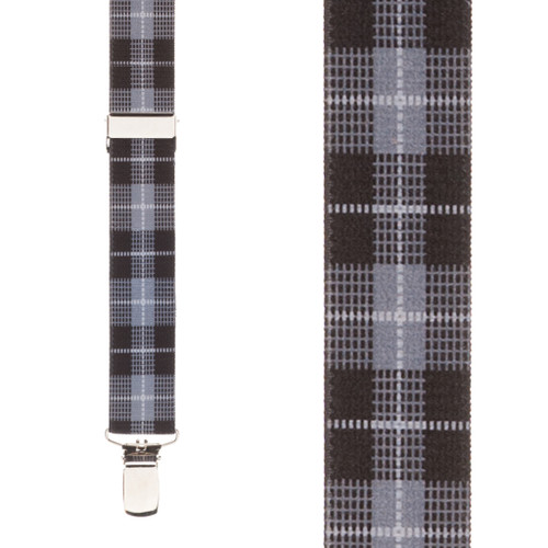 Plaid Suspenders in Grey - Front View
