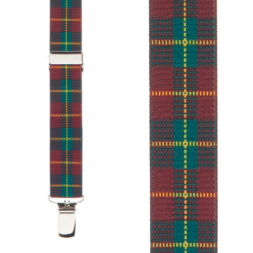 Red Plaid Suspenders - Front View
