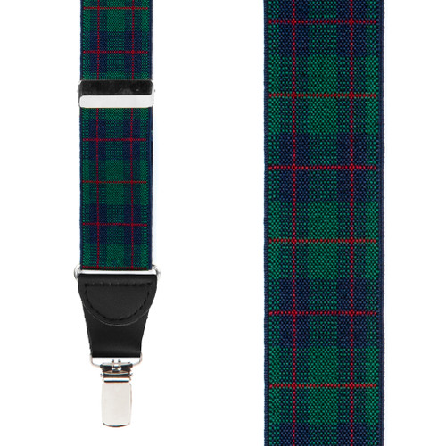 1.5-Inch Wide Hunter Green Plaid Suspenders - Front View