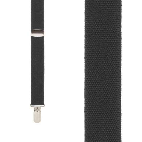 BLACK 1-Inch Small Pin Clip Suspenders - Front View