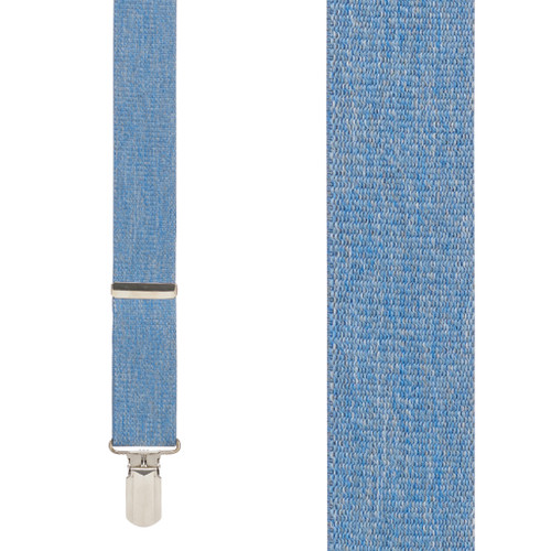 Denim 1.5-Inch Small Pin Clip Suspenders Front View