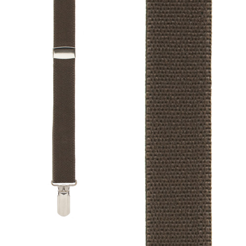 BROWN 1-Inch Small Pin Clip Suspenders Front View