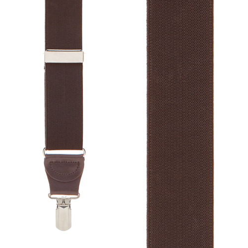 1.25-Inch Elastic Y-Back Suspenders in Brown - Front View