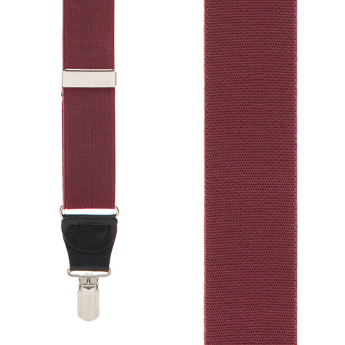 1.25-Inch Elastic Pin Clip Suspenders in Burgundy - Front View