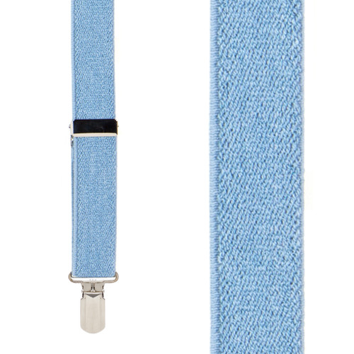1-Inch Small Pin Clip Suspenders in Denim - Front View