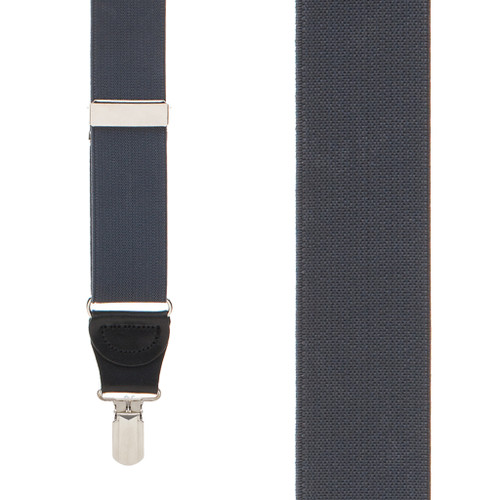 DARK GREY 1.25-Inch Elastic Y-Back Suspenders - Small Pin Clip Front View