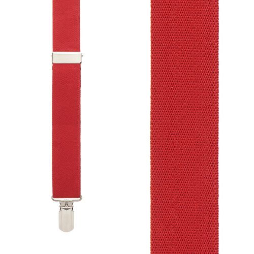 RED 1-Inch Small Pin Clip Suspenders Front View