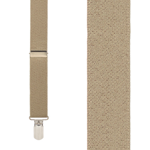 TAN 1-Inch Small Pin Clip Suspenders Front View