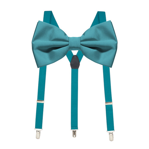 Bow Tie and Suspenders Set in Teal