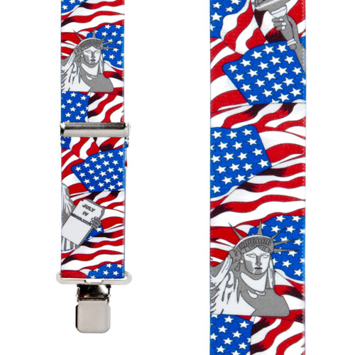American Liberty Suspenders - 1.5 Inch Wide - Front View - SALE