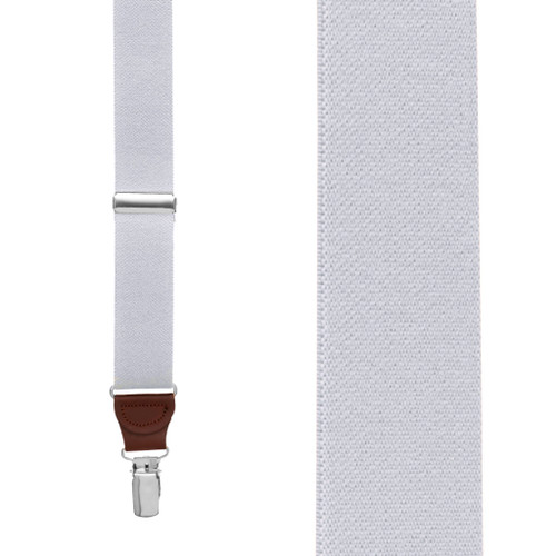 1.25 Inch Wide Y-Back Clip Suspenders in Light Grey with Brown Leather - Front View
