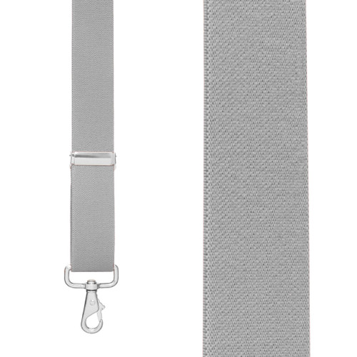 Front View - 1.5 Inch Wide Trigger Snap Suspenders - LIGHT GREY