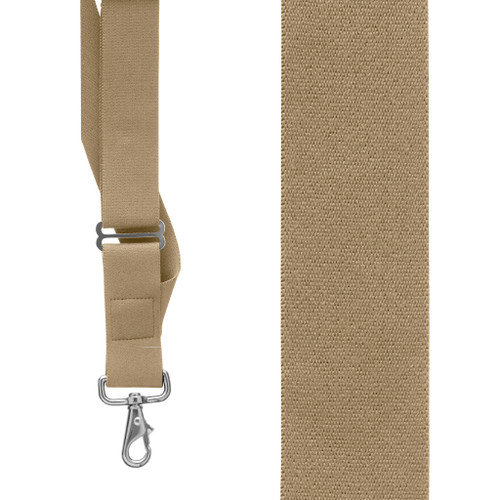 Tan Side Clip Suspenders, 1.5-Inch Wide - Trigger Snap Front View