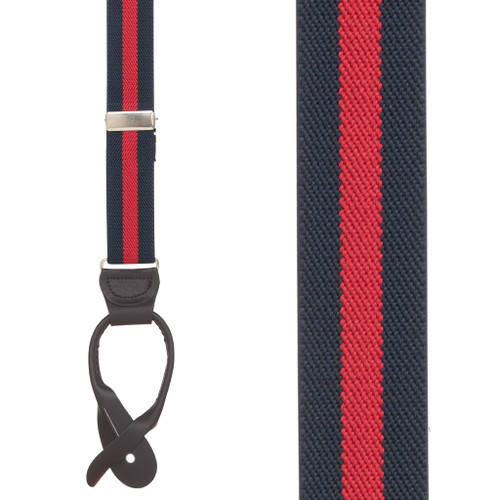 Striped Y-Back Brown Leather Button Suspenders in Navy/Red - Front View