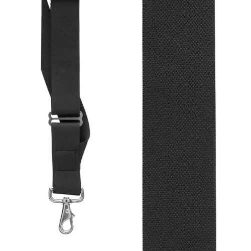 Black Side Clip Suspenders, 1.5-Inch Wide - Trigger Snap Front View