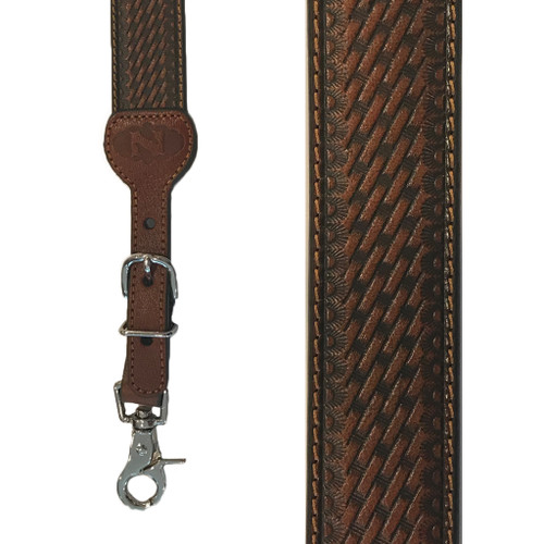 Basketweave  All Leather Suspenders - TWO-TONE BROWN