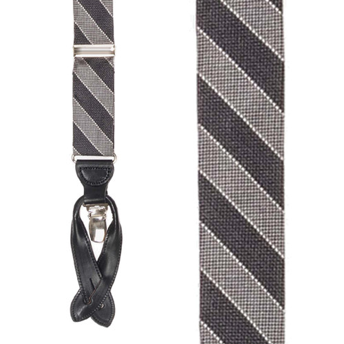 Diagonal Stripe Silk Suspenders