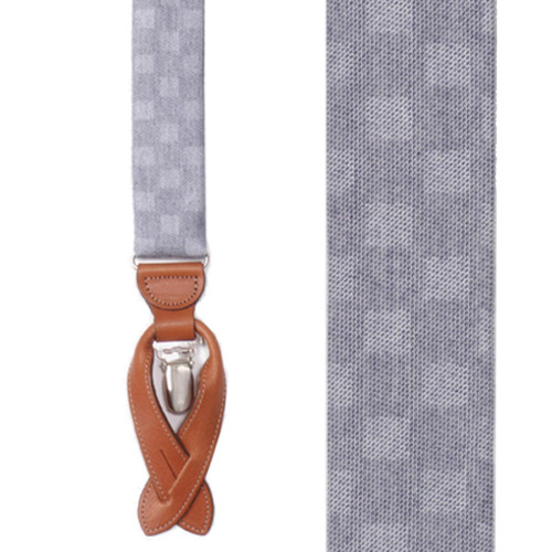 Checkered Silk Suspenders Navy