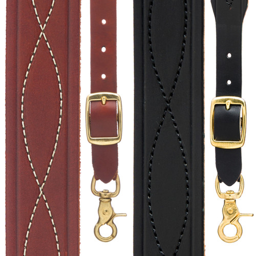 Chain Stitched Handcrafted Western Leather Suspenders - All Colors