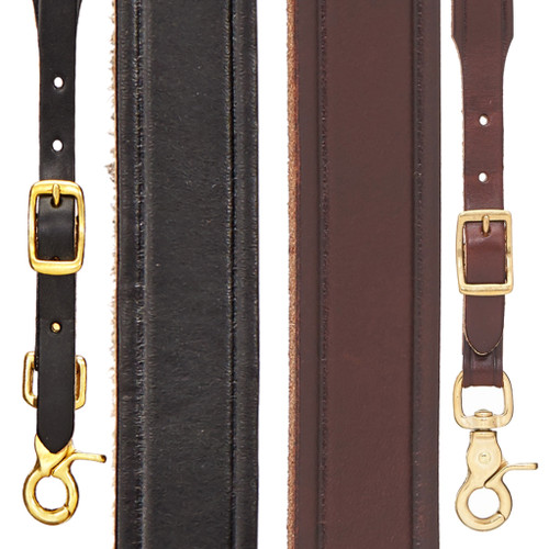 Plain Tooled 1-Inch Wide Western Leather Suspenders - All Colors