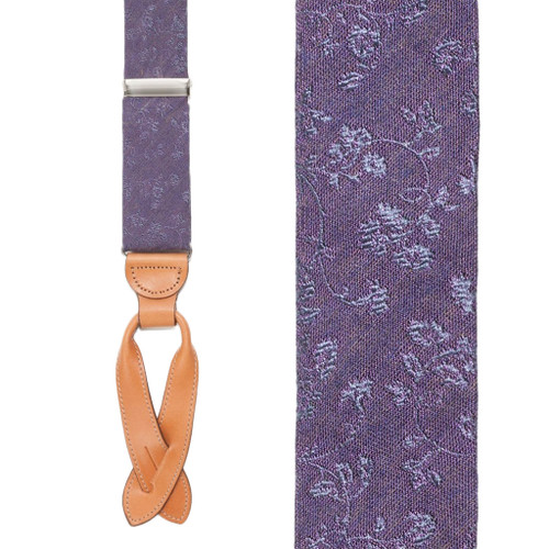 Silk Floral Suspenders in Purple - Front View