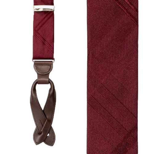 Plaid Silk Suspenders in Burgundy - Front View