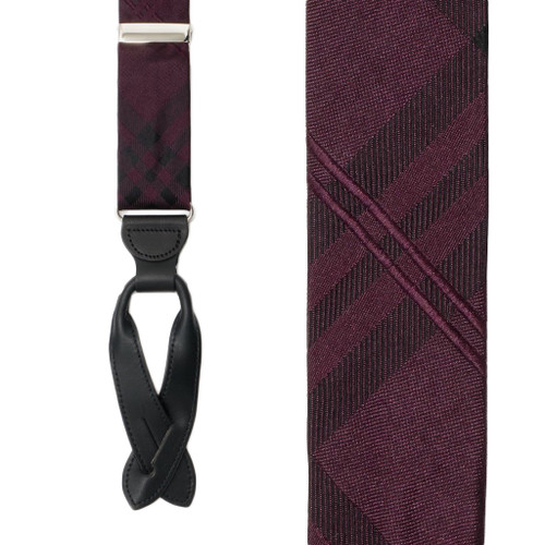 Silk Plaid Suspenders in Purple - Front View