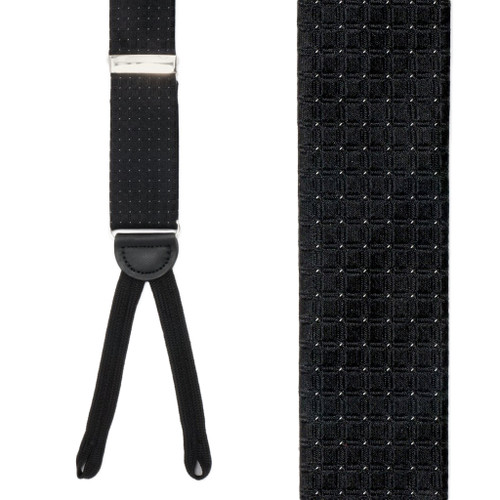 Black Andora Check Silk Suspenders - Front View