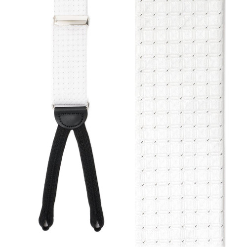 Silk Check Suspenders in White - Front View
