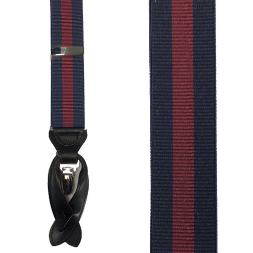 Navy & Burgundy Striped Suspenders - Front View