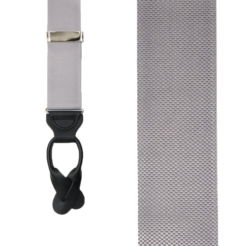 Oxford Cloth Button Suspenders in Silver - Front View