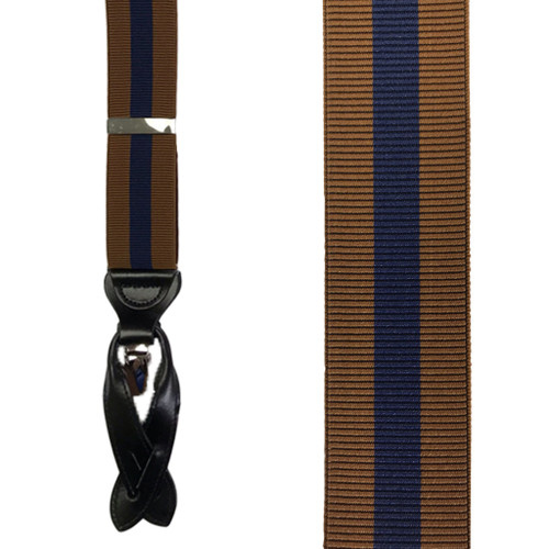 Rust/Navy Convertible Stripe Suspenders - Front View