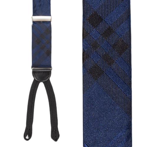Navy Plaid Silk Suspender - Front View