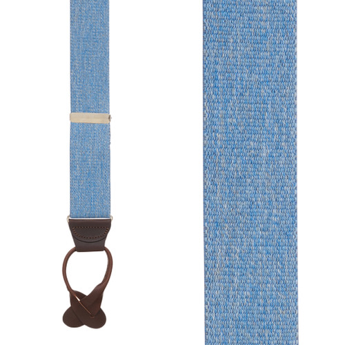 1.5 Inch Wide Button Suspenders in Denim - Front View