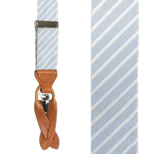 Trafalgar Striped Silk Suspenders in Blue - Front View