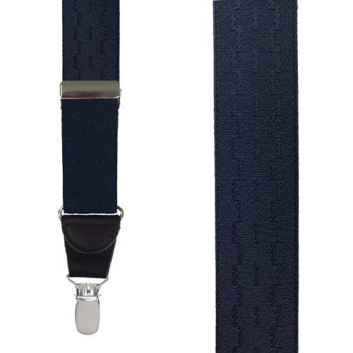 Jacquard New Wave Suspenders in Navy - Front View