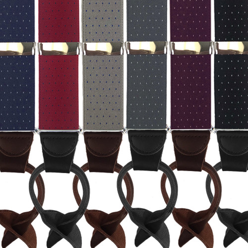 Woven Pin Dot Button Suspenders - All Colors