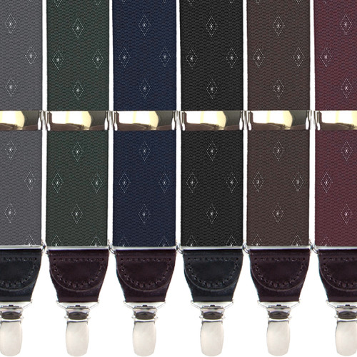 Jacquard Woven Diamond Drop Clip Suspenders - All Colors