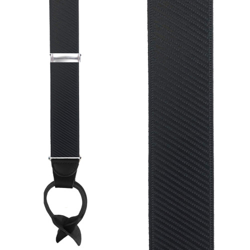French Satin Twill Suspenders in Black - Front View