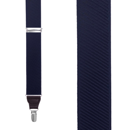 French Satin Twill Suspenders in Navy - Front View