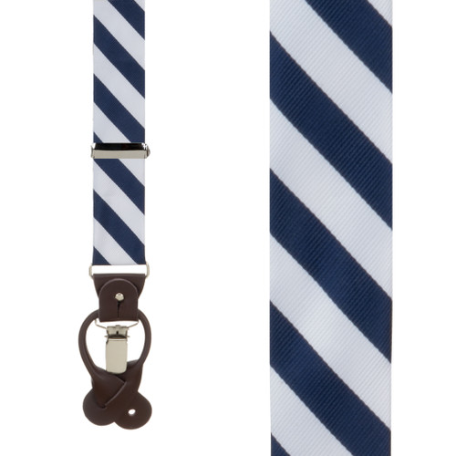 Navy & White Striped Suspenders - Front View