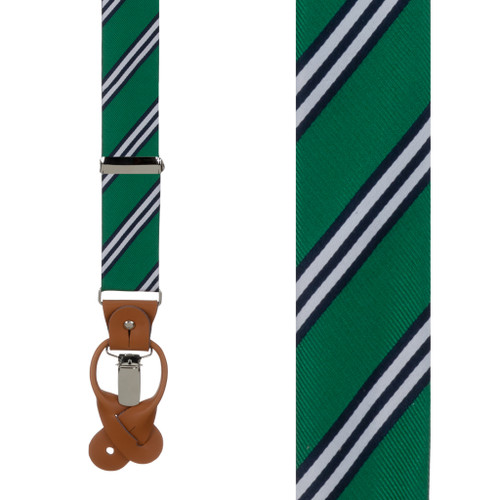 Kelly & Navy Multi-Stripe Suspenders - Front View
