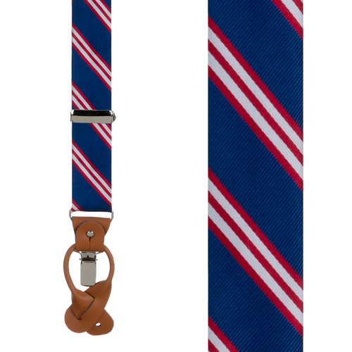 Navy & Red Multi-Stripe Suspenders - Front View