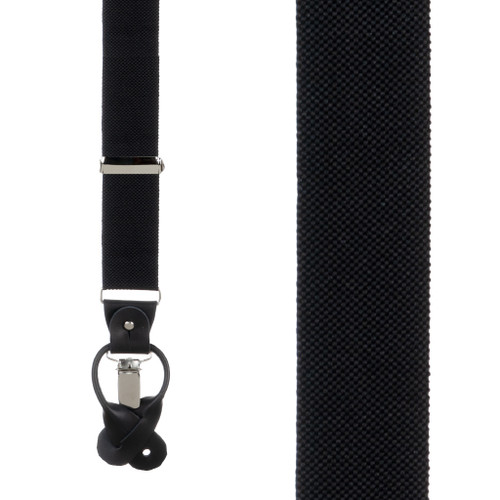 Oxford Cloth Suspenders in Black - Front View
