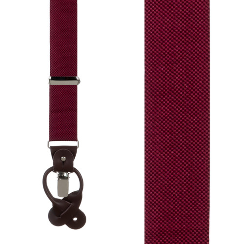 Oxford Cloth Suspenders in Burgundy - Front View